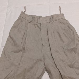 Vintage high-waisted 100% linen trousers unisex